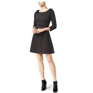 Madison Jules stripe bow shoulder fit flare dress